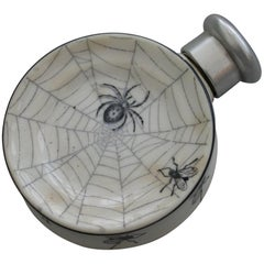 Victorian Silver Mounted 'Spiders Web' Porcelain Scent Bottle. S Mordan, 1887
