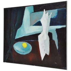 Rudolf Wolf Abstract Modern Painting on Canvas, 1952