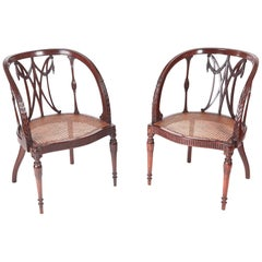 Fine Pair of Antique Mahogany Hepplewhite Style Library Chairs