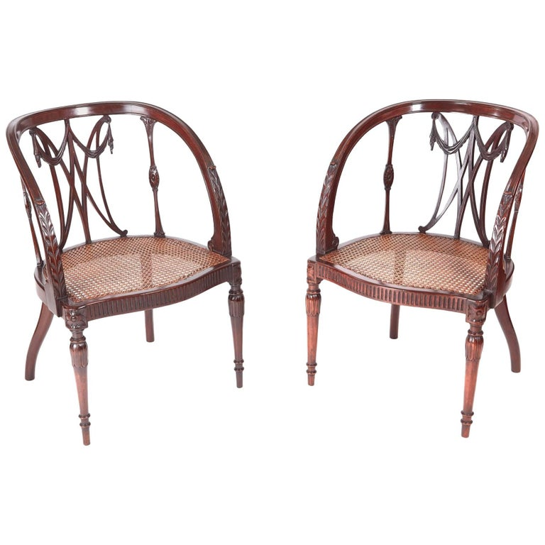Fine Pair of Antique Mahogany Hepplewhite Style Library Chairs For Sale
