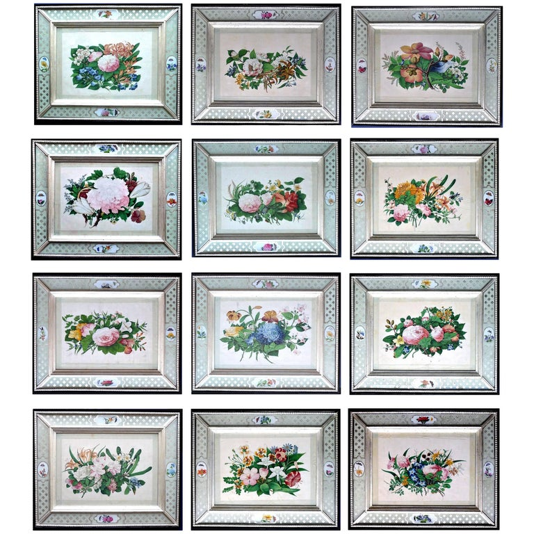 China Trade Set of Twelve Botanical Flower Pith Paper Paintings