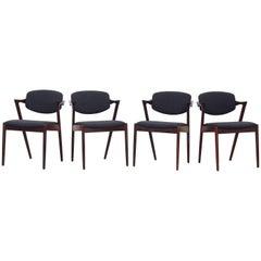 Set of Eight Kai Kristiansen Dining Chairs Armchairs, S. Andersen New Upholstery