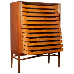 1950s, Teak Tambour Archive Cabinet by Carl-Axel Acking