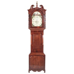 Antique Mahogany and Oak 8 Day Painted Face Longcase Clock, W Helliwell Leeds