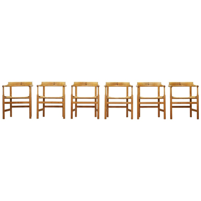 Set of Six Dining Chairs Armchairs by Hans Wegner for PP Mobler Denmark
