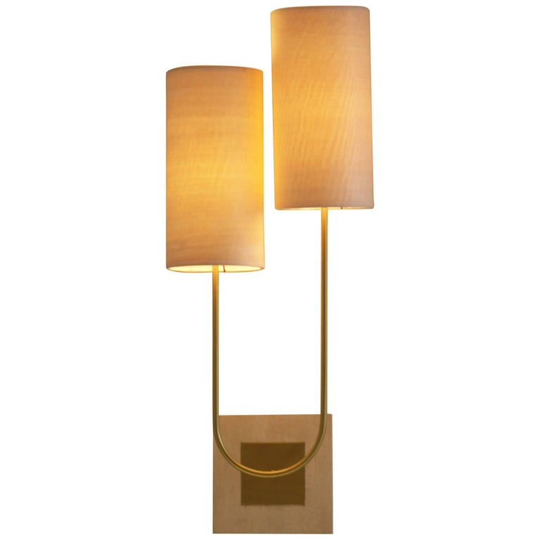 """Wall Lamp Sconce """"Sano"""" Gold Bronze Patina and Wooden Sconce by Aymeric Lefort"""