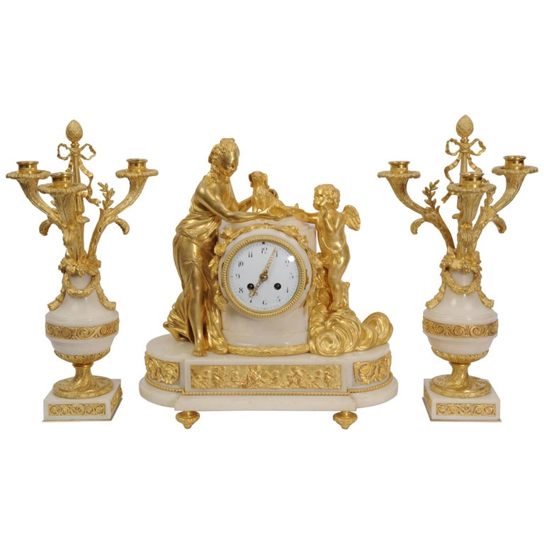 Venus with Amour and Dog, Superb Ormolu and White Mable Clock Set, circa 1900 For Sale