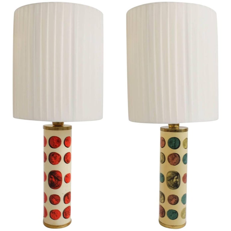 Rare Pair of Fornasetti Table Lamps Mod. Cammei, Italy, 1968 For Sale