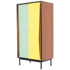 Mint Green and Yellow Wardrobe Cabinet by Willy Van Der Meeren