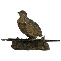 Antique Cold Painted Bronze Game Bird Inkwell, circa 1900