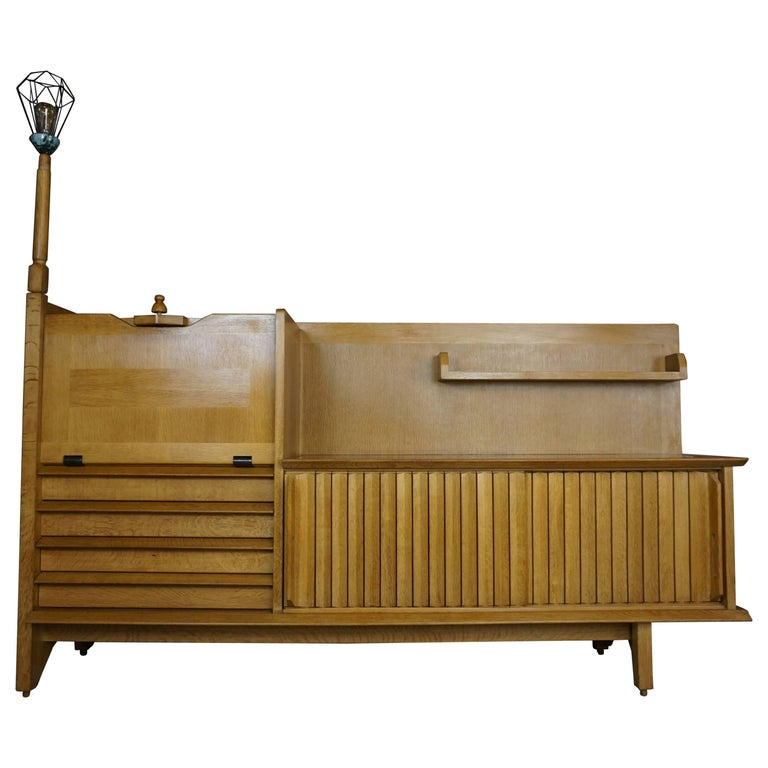 French Design Solid Oak Sideboard by Guillerme et Chambron