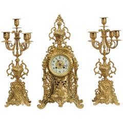 Antique French Gilt Bronze Clock Set by Vincenti