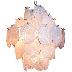 Kalmar Style Melting Ice Glass Ballroom Chandelier Ceiling Lamp, circa 1970
