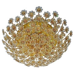 Huge Palwa Flush Mount Chandelier Gilt Brass Floral Flower Bouquet Crystals 1960