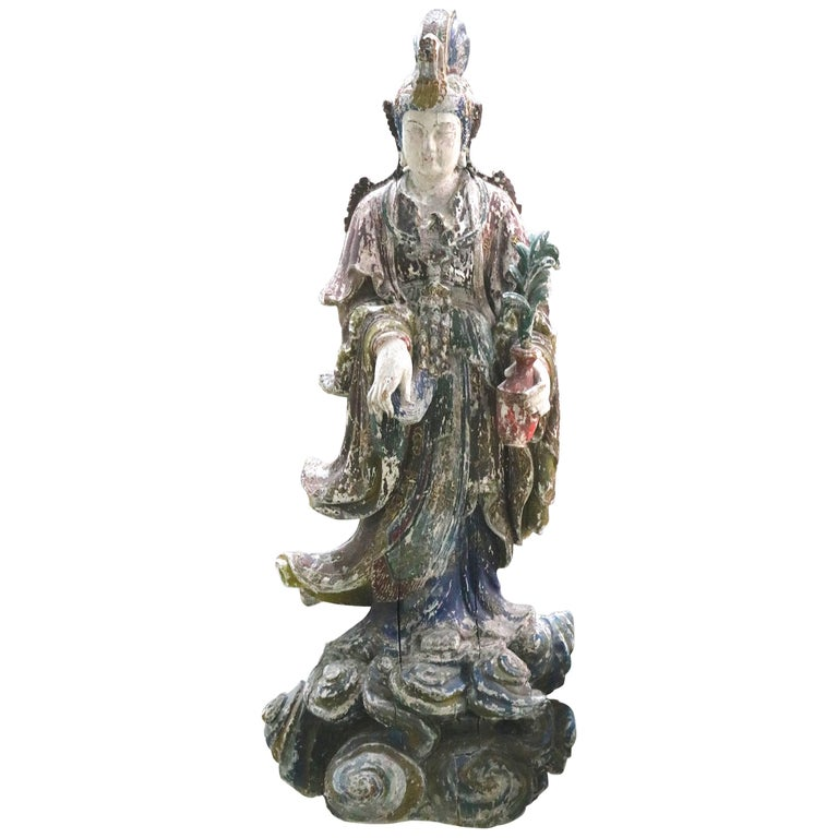 Near Life-Size Wood Carved Quan Yin Standing Statue in Regal Repose