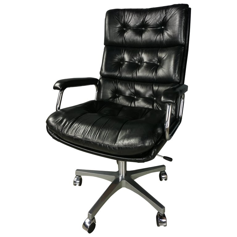 Dutch Design and Black Leather Office Armchair