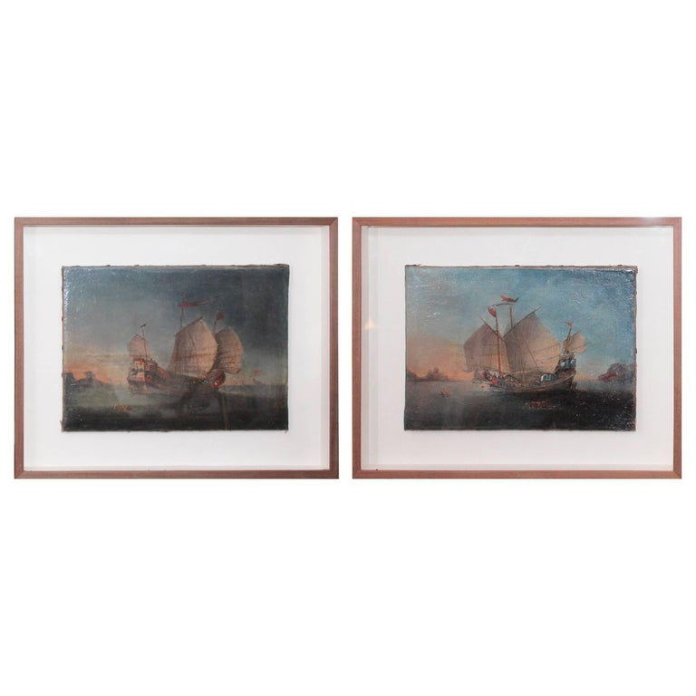 18th Century Pair of Marines Oil on Canvas Paintings For Sale
