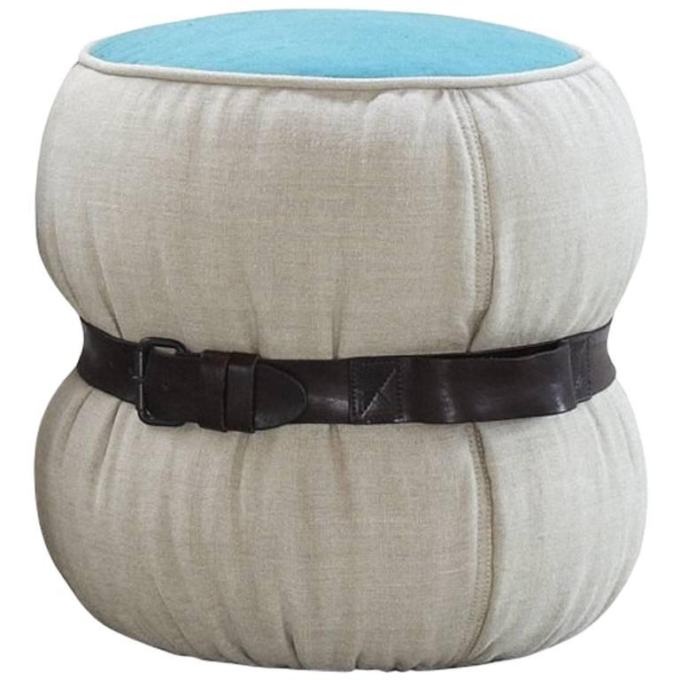 """Chubby Chic"" Fiber Pouf with Belt in Dark Brown Leather by Moroso for Diesel"