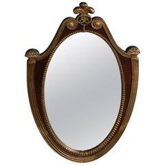 French Parcel Gilt Mahogany Federal Style Shield Form Wall Mirror, 20th Century