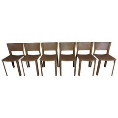 Set of Six Italian Design Leather Chairs for Fasem International