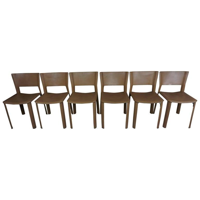 Set of Six Italian Design Leather Chairs for Fasem International