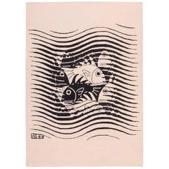 Black and White Vintage Maurits Escher Designed Scandinavian Rug