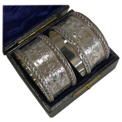 Fine Cased Pair of Antique English Sterling Silver Napkin Rings