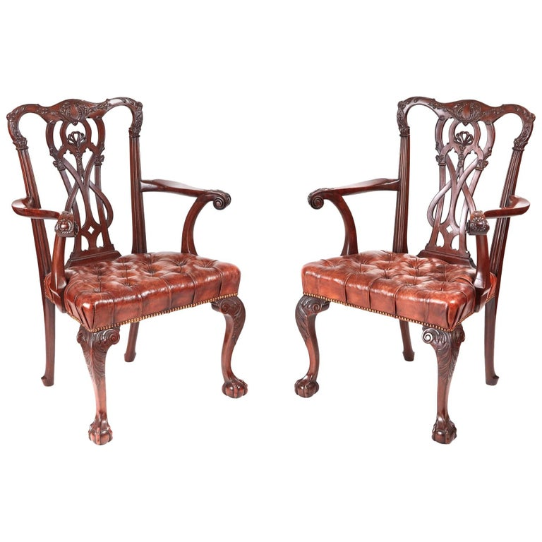 Terrific Fine Pair Of Antique Carved Mahogany Claw And Ball Elbow Or Machost Co Dining Chair Design Ideas Machostcouk