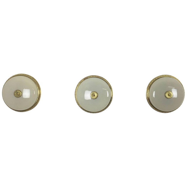 Set of Three Modernist Metal, Brass and Glass Wall Light Sconces Made in Italy