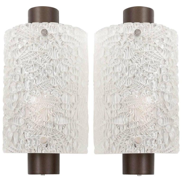 Kalmar Glass Sconces Wall Lights, 1960s