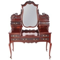 Outstanding Quality Antique Victorian Carved Mahogany Dressing Table