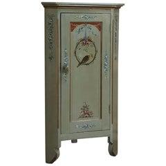 19th Century Swiss Painted Corner Cabinet
