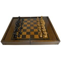 Antique English Folding Chess/Games Box with Chess Set, circa 1910