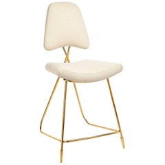 Maxime Linen and Brass Counter Stool