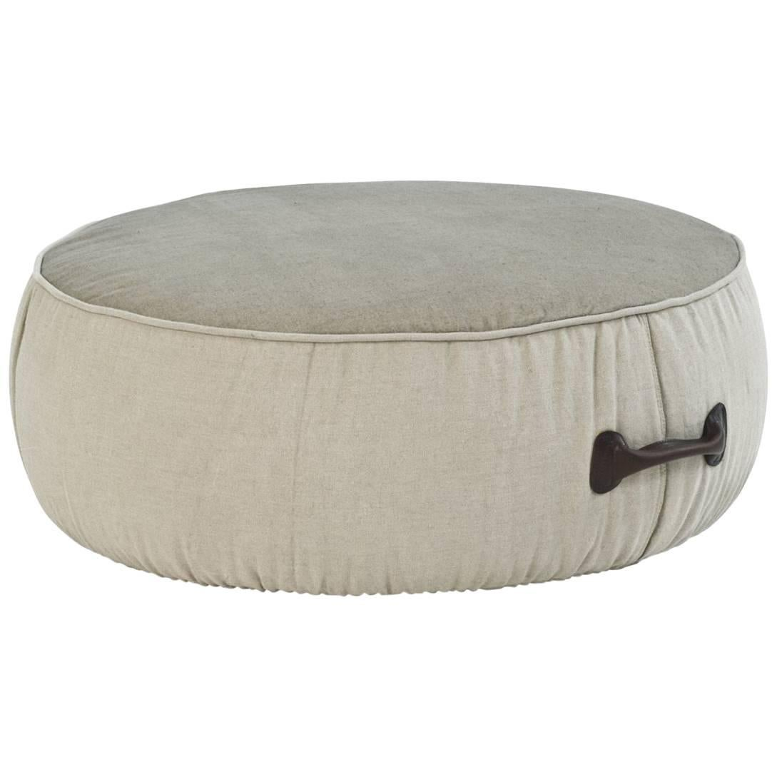 """""""Chubby Chic"""" Fiber Pouf with Handle in Dark Brown Leather by Moroso for Diesel"""