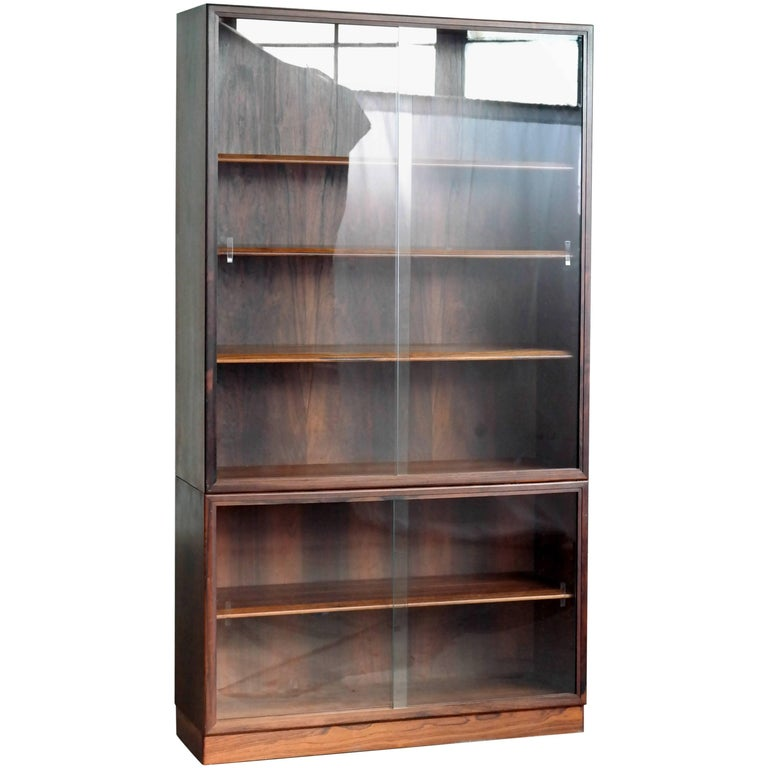 Danish Rosewood Bookcase or Display Cabinet with Glass Doors for John Stuart