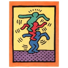 Small Size Vintage American Rug Designed by Keith Haring. Size: 3 ft x 4 ft