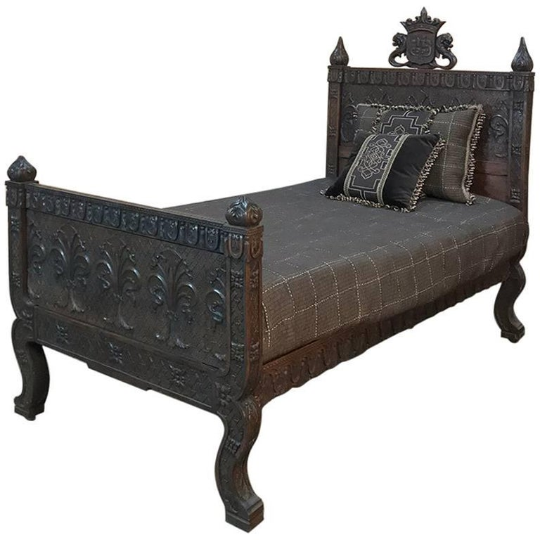 Hand Carved Bed: 19th Century Italian Florentine Hand-Carved Walnut Bed For