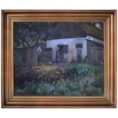 Danish Farm Scene by Carlo Hornung-Jensen, circa 1920