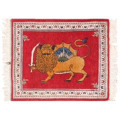 Small Scatter Size Lion and Sun Design Vintage Persian Tabriz Rug