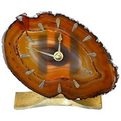 Table Clock Willy Daro Attribution Amber White Agate Brushed Brass Junghans 1970