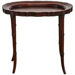 Faux Bamboo Mahogany Tray Table or Drinks Table