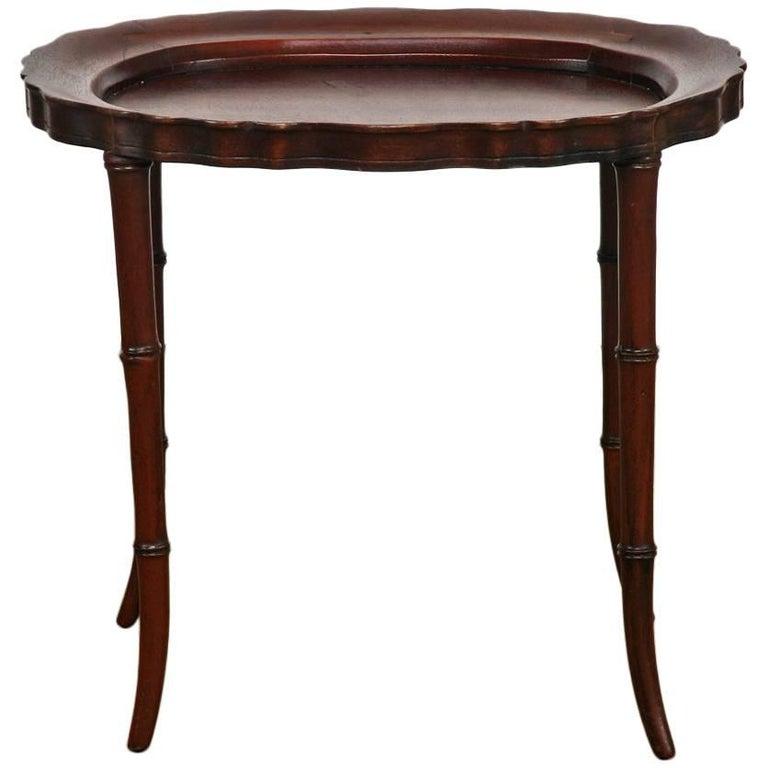 Faux Bamboo Mahogany Tray Table or Drinks Table