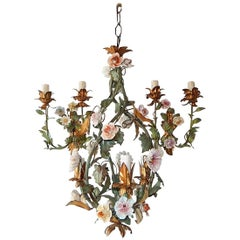 1890 French Set Tole Porcelain Roses Flowers Sconces and Chandelier
