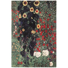 Vintage Flower Garden Design Scandinavian Rug After Gustav Klimt. Size: 6' x 9'