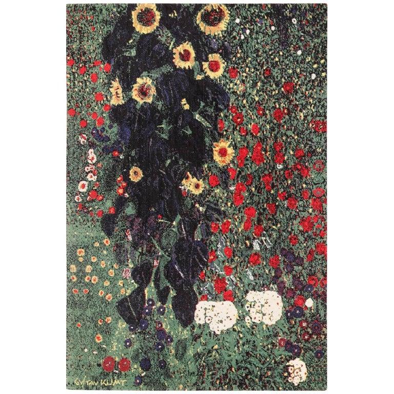 Vintage Flower Garden Design Scandinavian Rug After Gustav Klimt. Size: 6' x 9'  For Sale