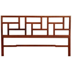Midcentury Chinese Carved Hardwood Geometric Headboard