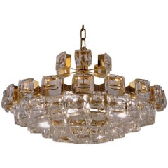 Palwa Chandelier, Gold Plate and 101 Optical Crystals, circa 1970s, German