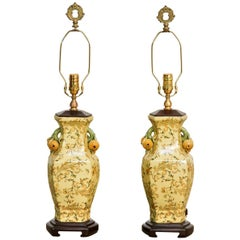 Pair of Chinoiserie Porcelain Vase Table Lamps by Bradburn