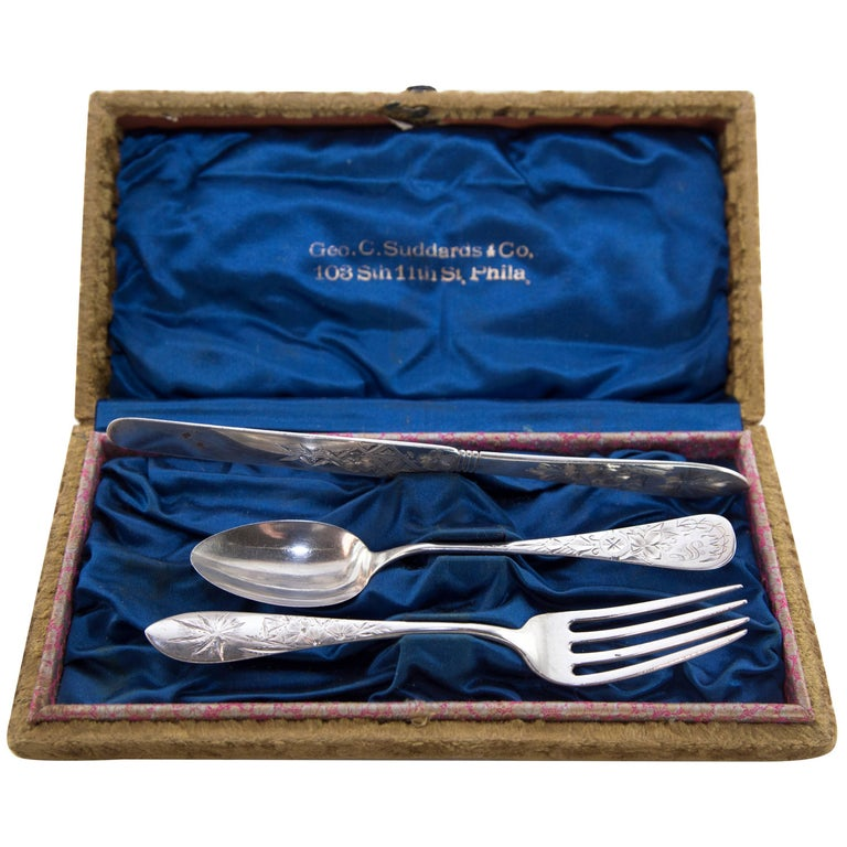Antique Sterling Silver Christening Cutlery Set Boxed For Sale